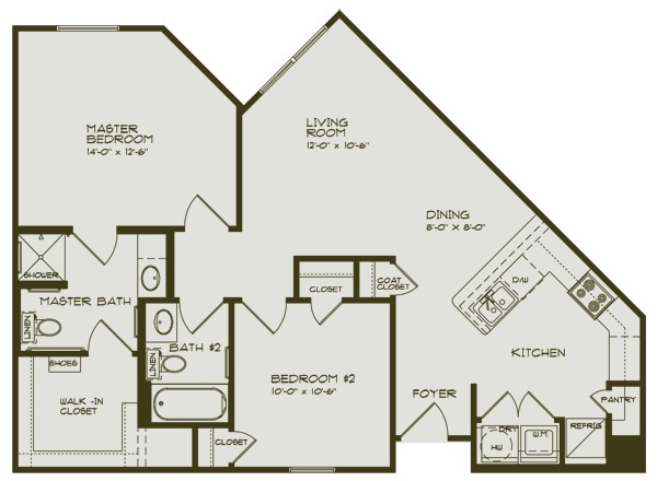 950 sq. ft. WISTERIA/60 floor plan
