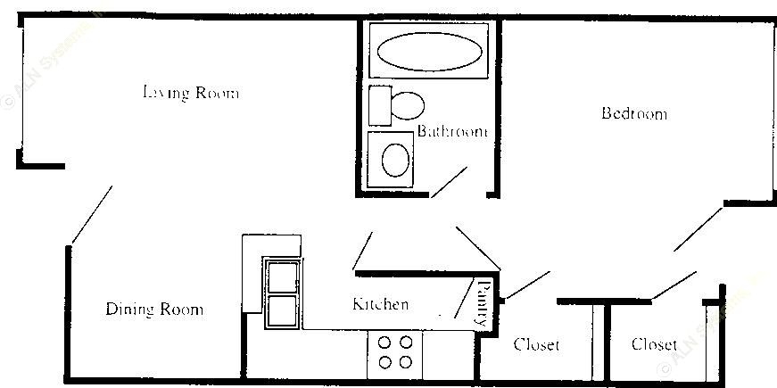 541 sq. ft. A1 floor plan