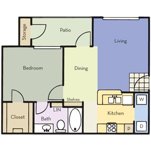 658 sq. ft. A1A floor plan