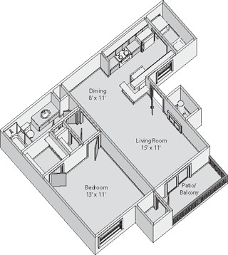 639 sq. ft. WALTON floor plan