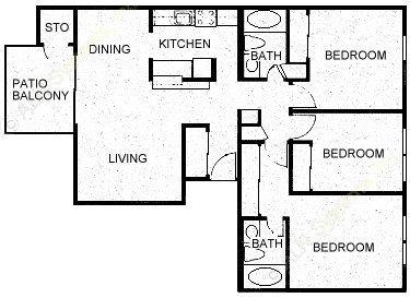 1,094 sq. ft. C1 floor plan