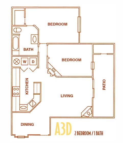 900 sq. ft. A3D - A3U floor plan