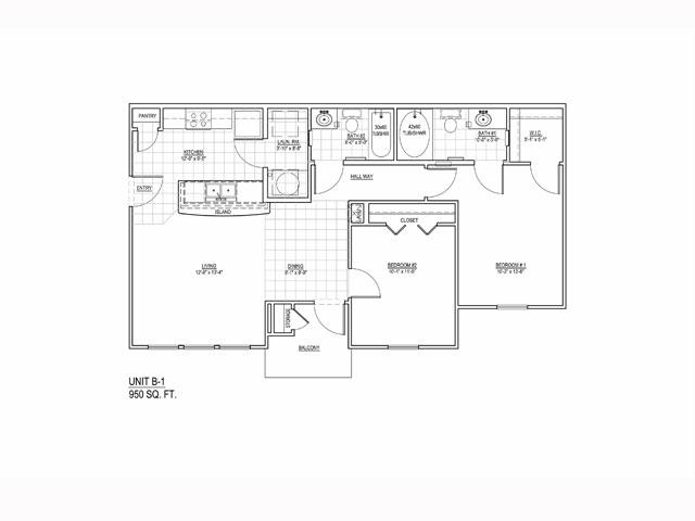 950 sq. ft. 50 floor plan