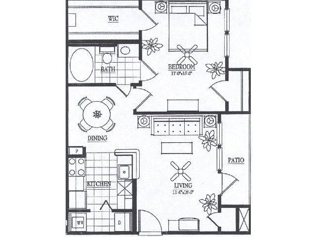 747 sq. ft. A3 floor plan