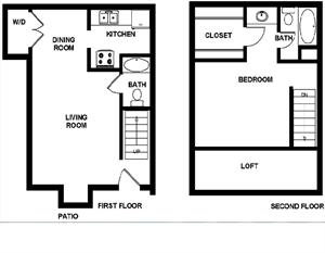 836 sq. ft. floor plan