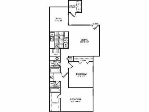 996 sq. ft. E floor plan