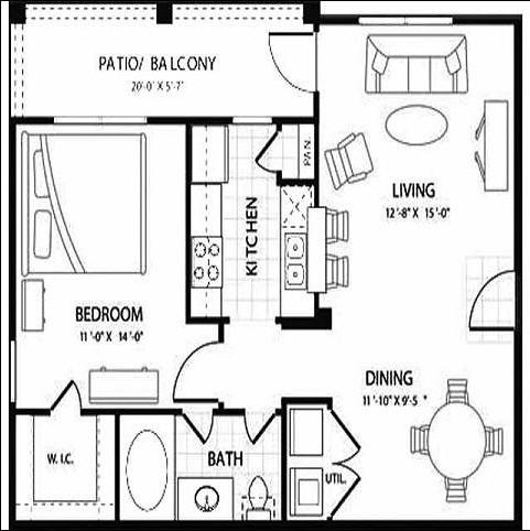 726 sq. ft. TOPAZ floor plan