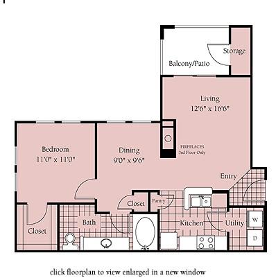 728 sq. ft. Brussels floor plan