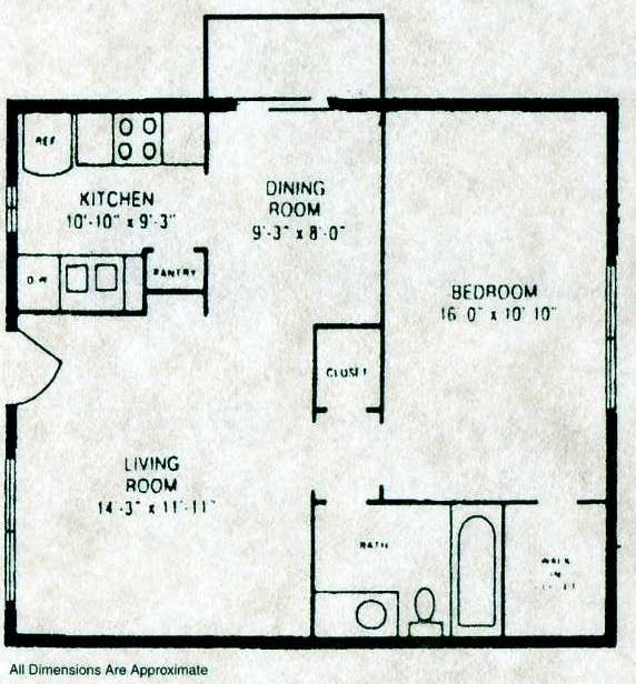640 sq. ft. A2 W/D floor plan