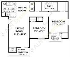884 sq. ft. B floor plan
