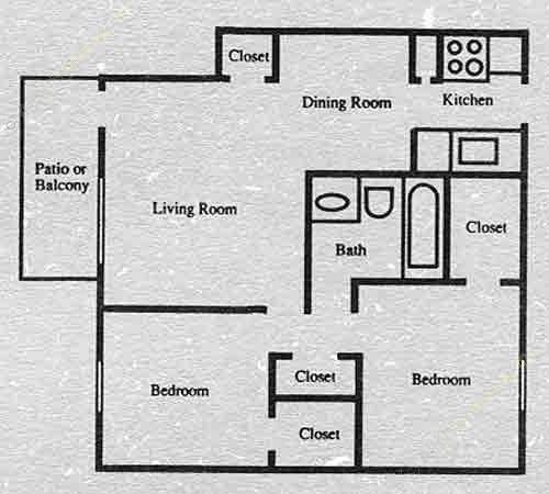 840 sq. ft. B3 floor plan