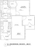686 sq. ft. A1/60 floor plan