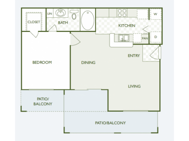 711 sq. ft. A2 floor plan