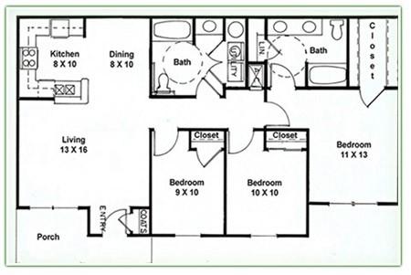 1,194 sq. ft. E floor plan