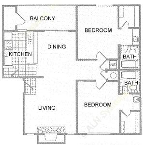 950 sq. ft. 2B floor plan