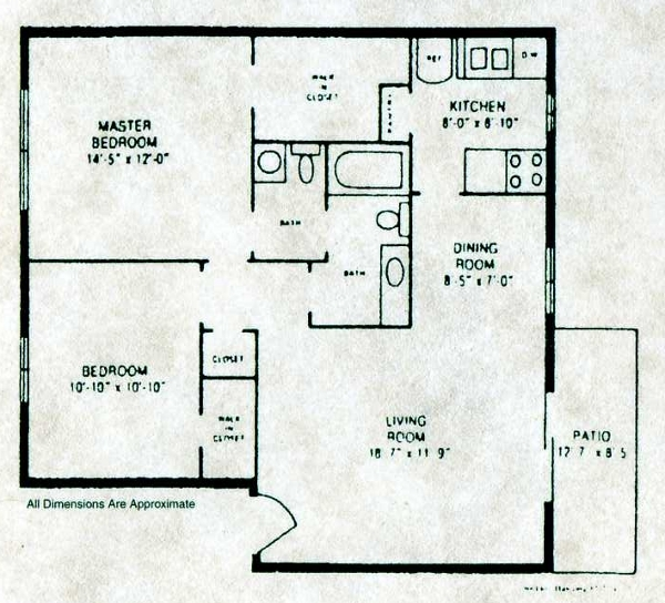 902 sq. ft. B-4 W/D floor plan