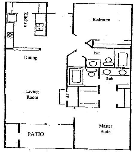 1,100 sq. ft. B1 floor plan