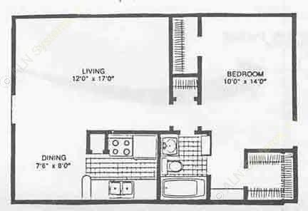 640 sq. ft. II floor plan