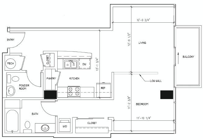 761 sq. ft. DONATELLO floor plan