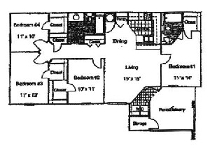 1,350 sq. ft. Hydrangea/60 floor plan