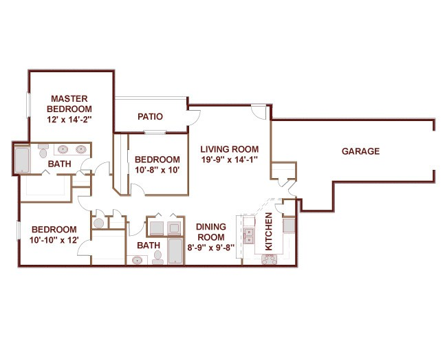 1,338 sq. ft. 32AG floor plan