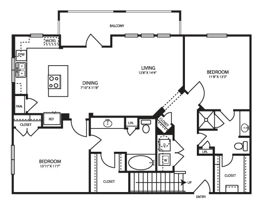 1,199 sq. ft. B2G floor plan