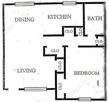 655 sq. ft. A2 floor plan