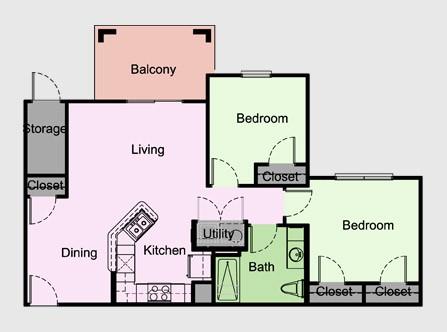 863 sq. ft. Cambridge/B2 floor plan