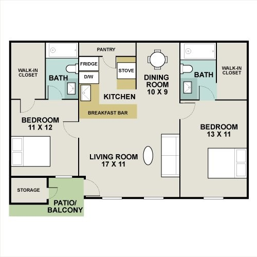 967 sq. ft. JUNIPER floor plan