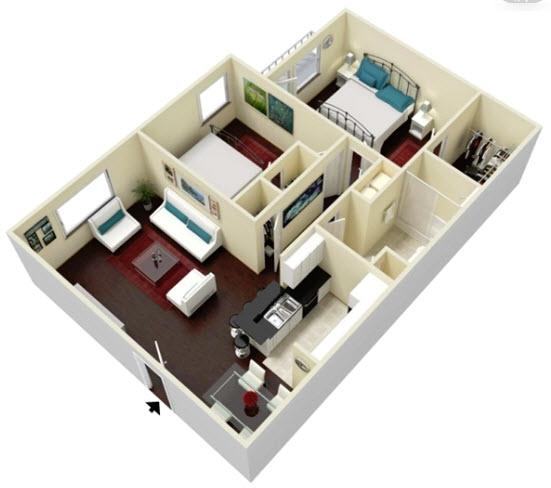 852 sq. ft. Evergreen floor plan