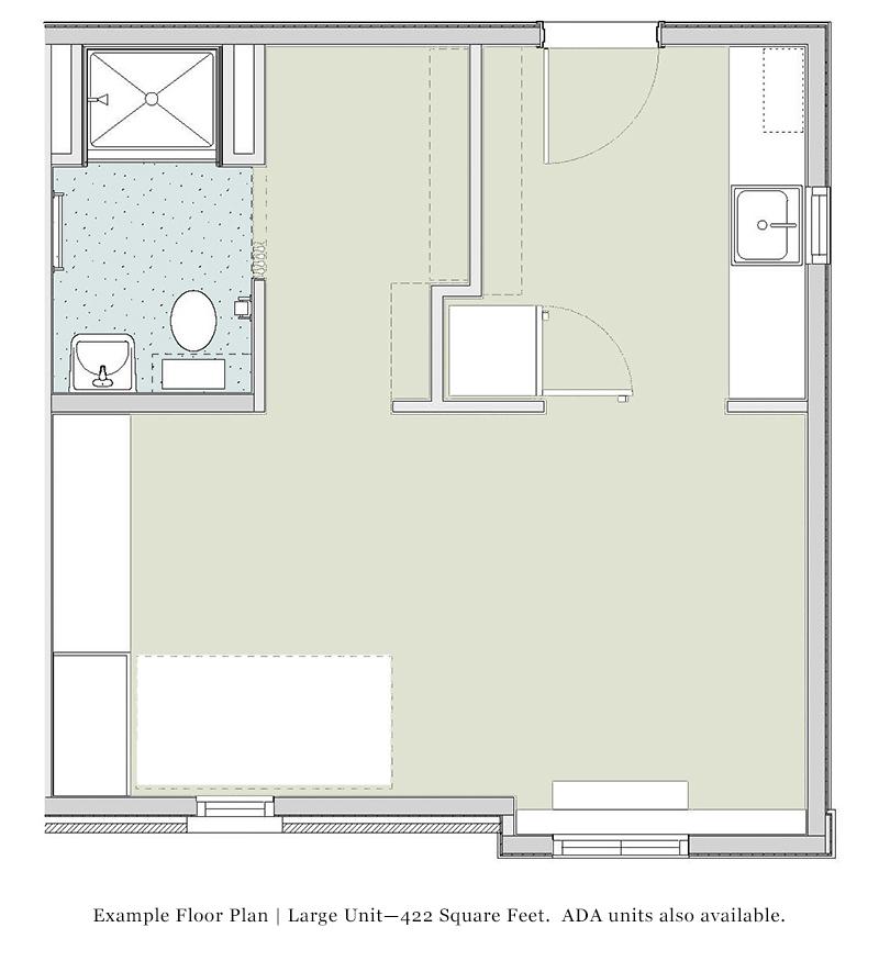 400 sq. ft. 50%/HC floor plan