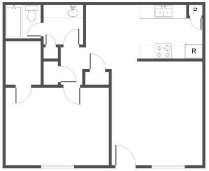 760 sq. ft. C floor plan