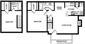 1,038 sq. ft. floor plan