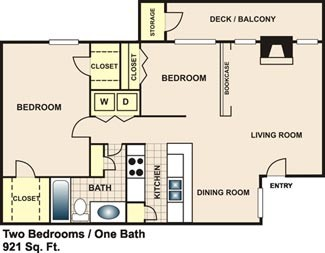 921 sq. ft. B1 floor plan