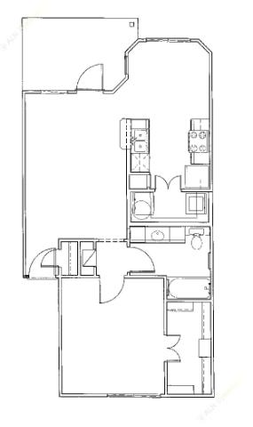 702 sq. ft. Pier/30% floor plan