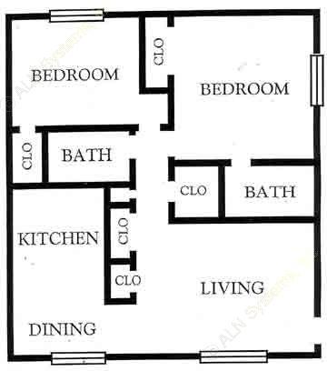 880 sq. ft. B2 floor plan