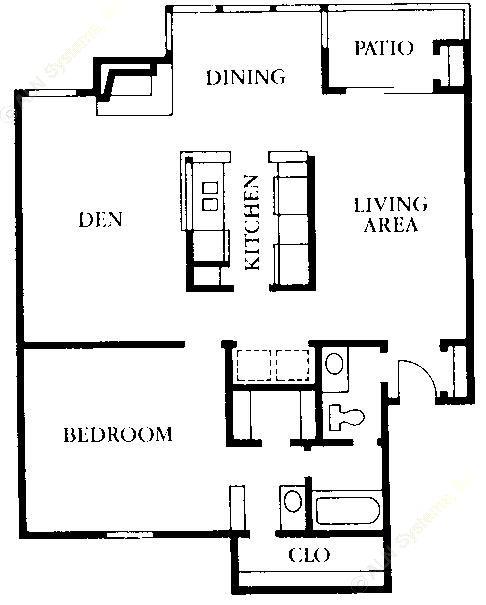 938 sq. ft. A2 floor plan
