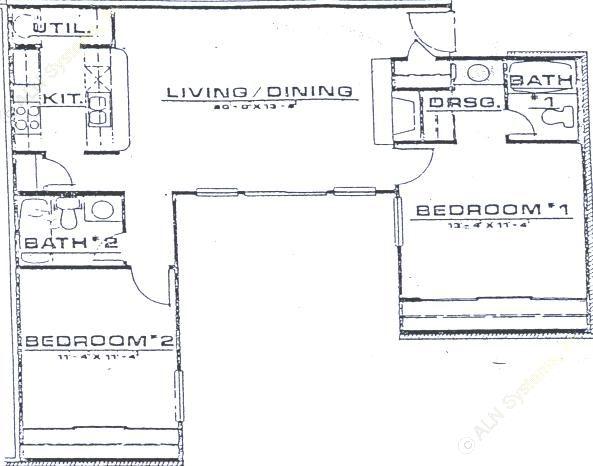 968 sq. ft. B1 floor plan