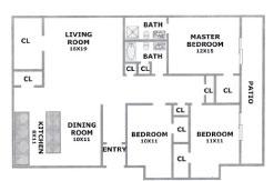 1,363 sq. ft. RED OAK floor plan