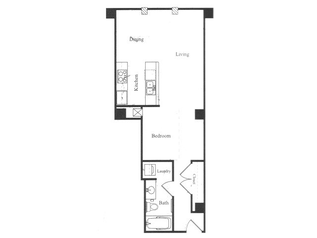 589 sq. ft. B floor plan