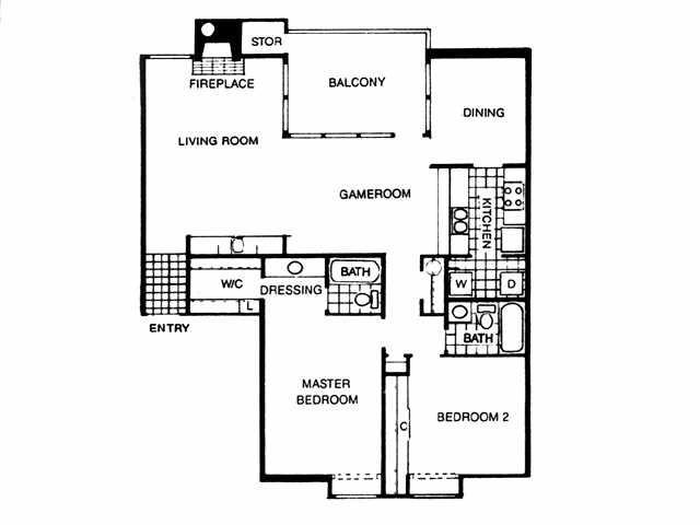 1,262 sq. ft. B2 floor plan