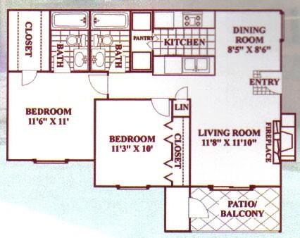 860 sq. ft. D floor plan