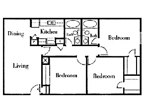 1,180 sq. ft. 3x2/60 floor plan