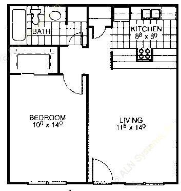 537 sq. ft. floor plan