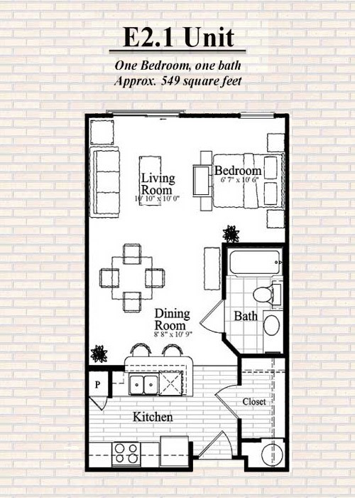 575 sq. ft. E2 floor plan