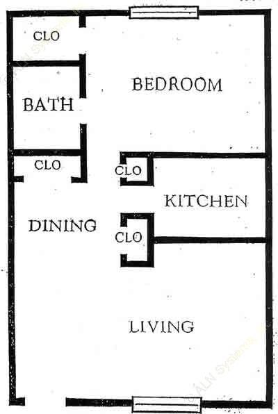 624 sq. ft. A1 floor plan