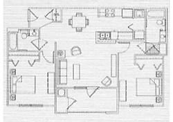 935 sq. ft. 60% floor plan
