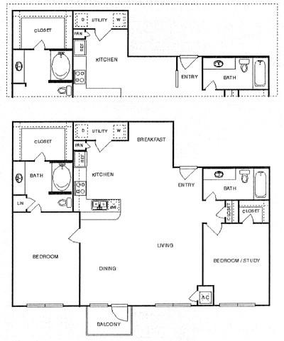 1,275 sq. ft. Tranquil floor plan