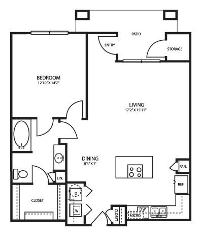 893 sq. ft. A3 Alt floor plan