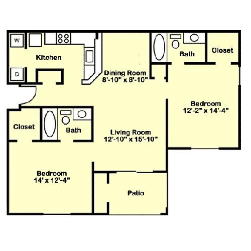 978 sq. ft. B3 floor plan